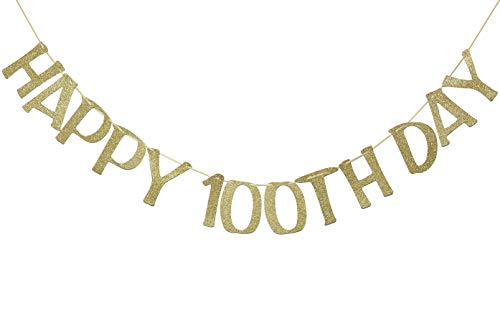 Happy 100th Day Banner Sign Gold Glitter for Baby Birthday Baby Shower Party Decorations Anniversary Decor Photo Booth Props ()