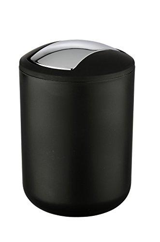WENKO 21211100 Kosmetikeimer Brasil Schwarz S - absolut bruchsicher, Fassungsvermögen 2 L, Thermoplastischer Kunststoff (TPE), 14 x 21 x 14 cm