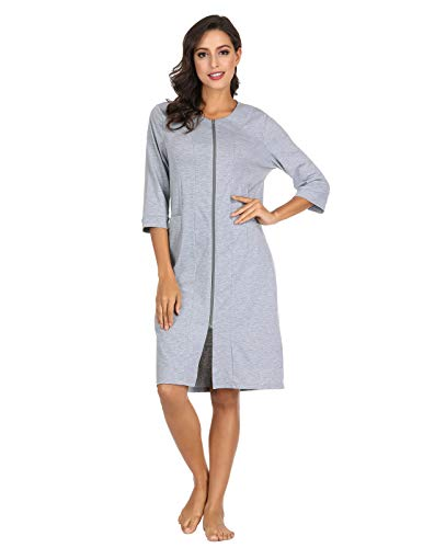 Women Long Robes Zipper Front House Coat with Pockets Loungewear Grey M