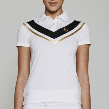 Sergio Tacchini Women's Sharon Polo Shirt (White/Black/Gold, Small) (Tennis Sergio Clothing Tacchini)