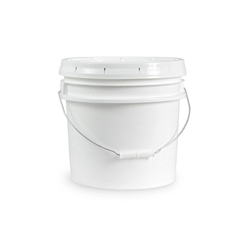 3.5 Gallon White Bucket & Lid - Set of 3 - Durable 90 Mil All Purpose Pail - Food Grade - Plastic Container (Plastic Drum Containers)