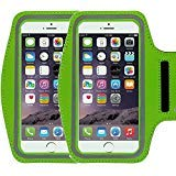 (2Pack Universal Sports Armband Casehigh Shop Easy Fitting Sports Running Armband with Build in Screen Protect Case Cover Scratch-Resistant Material Slim Light-Weight (Armband Green 2 Pack))