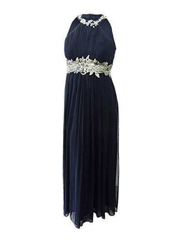 - Betsy & Adam Women's Embroidered Mesh Gown (12, Navy/Gold)