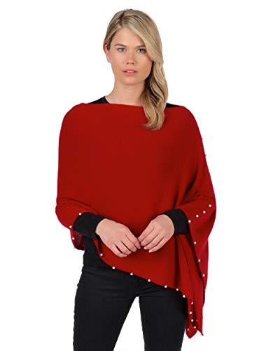 Claudia Nichole by Alashan 100% Cashm. Pearl Trim Dress Topper Poncho-Red Velvet