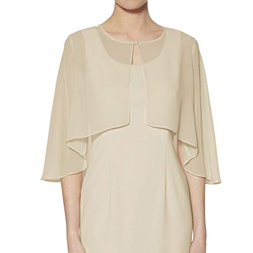 LANSITINA Chiffon Shrug Wraps for Evening Bridal Party Plus Size Soft Open Front Back Capes Cloaks (W01 Champagne), Large