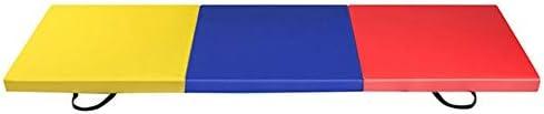 6' X 2' キャリングハンドル高密度弾性フォームヨガピラティスマットヨガ膝パッドペアでエクササイズPU体操マットを三つ折り