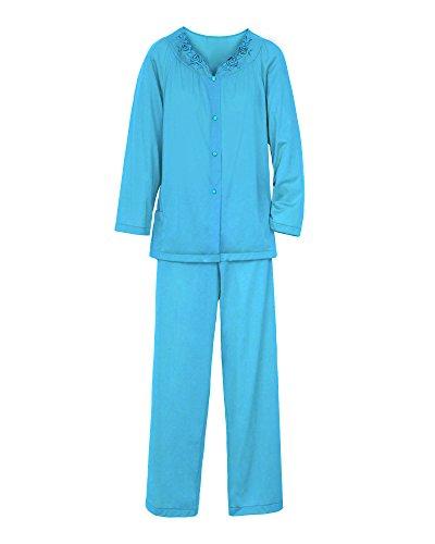 Shadowline Women's Petals Long Sleeve Pajama, Turquoise, 40