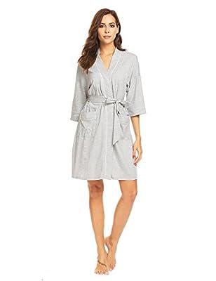 Corgy Women's Cotton Soft Kimono Robe, Solid Color Bathrobe Sleepwear, Short