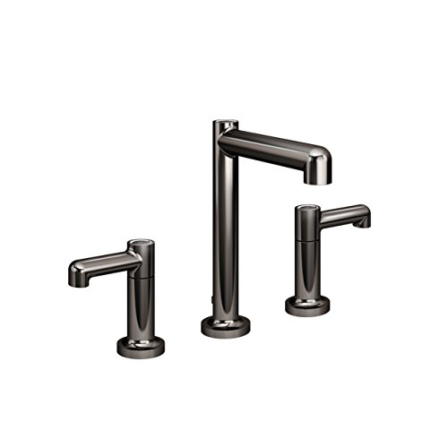 Symmons SLW-5312-BLK-1.5 Museo Widespread 2-Handle Bathroom Faucet with Drain Assembly in Polished Graphite (1.5 GPM)