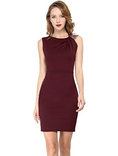 Allegra K Women's Sleeveless Metallic Shiny Ruched Stretchy Party Bodycon Sheath Dress S Burgundy