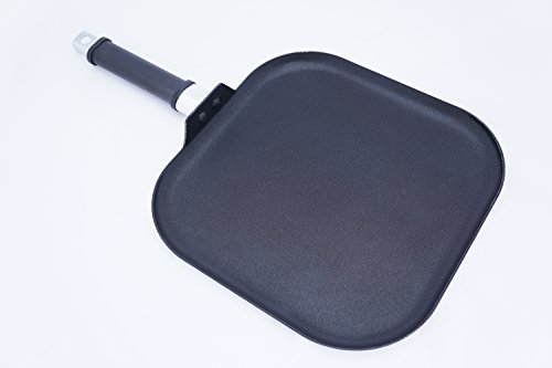 "Home N Kitchenware Collection 11"" Inch Square Aluminum Griddle Pan, Non-Stick Griddle, 2.5T Gage, Heavy Duty, Black"