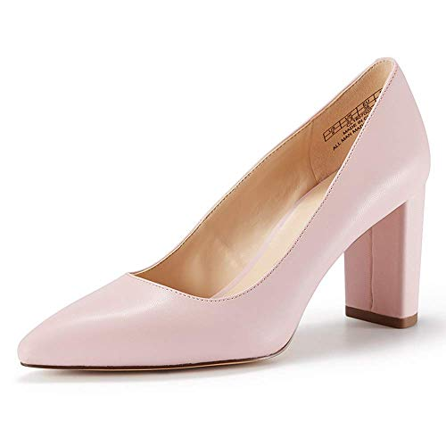 JENN ARDOR Chunky Thick Heel Pumps Pointed Closed Toe Office Dress Lady High Heel Shoes (6.5, Pink)
