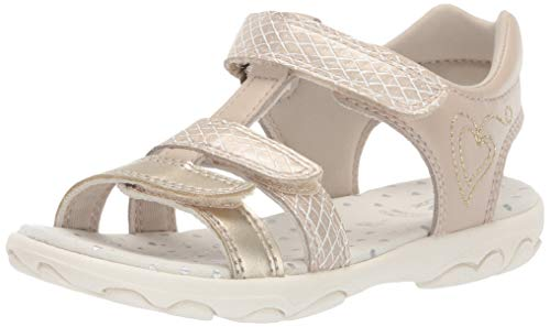 Geox Girls' Sandal Cuore 22 SP Flat, Beige/Gold, 35 Medium US Big Kid
