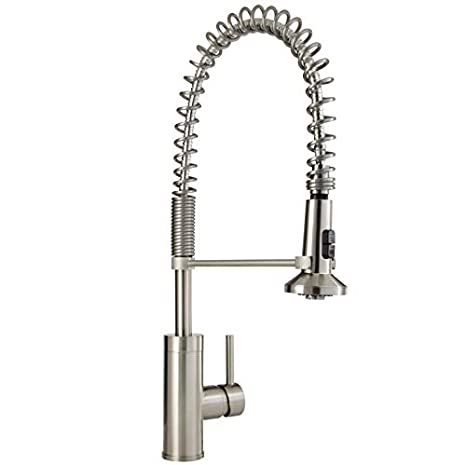 Mirabelle Mirxcps100ss Stainless Steel Presidio Pull Down Pre Rinse Kitchen Faucet With High Arch Coiled Gooseneck Spout
