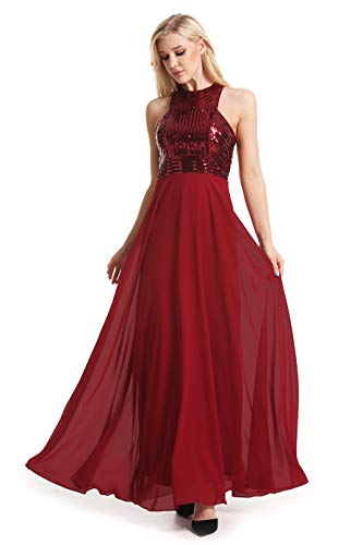 Women's Long Formal Sequin Chiffon Evening Prom Dress (X-Small, Red) ()