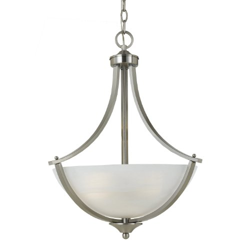 (Triarch 33292 3 Light Value Large Pendant, Satin Nickel)