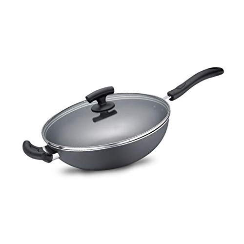 Frying pan 12.6inch non-stick wok flat bottom non-stick frying pan gas stove universal (Wok Flat Covered Bottom)