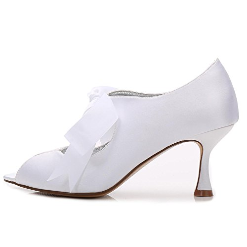Para L Encaje 22 P17061 Verano Novia Red Tacón Mujer Peep Satén yc Toe Zapatos Y Cinta Con Alto De r0qBrYw