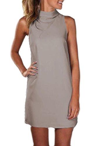 Pullover Colore Formato Di Maniche Coolred Solido Vestito Del Senza Collo donne Finto Grigio Grande 474HqU