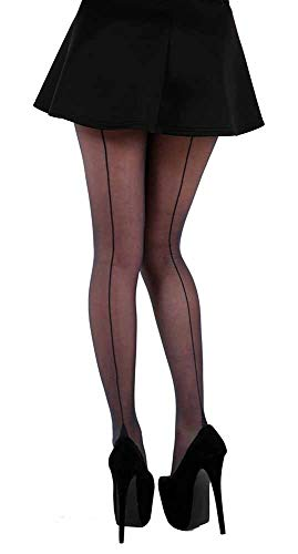 Classic Sexy Seamed Tights, Sheer Stripe Pantyhose Sizes 2-14 [Made in Italy] (12/4B/B)