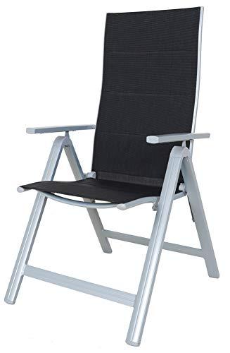 Chicreat silla plegable de 9 posiciones con juego de 2 sillas de jardín con respaldo alto de lujo en color negro / plateado