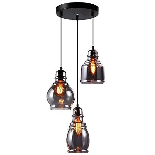 (ESCENA Vintage Glass Pendant Light, UL-Listed Retro Hanging Lighting Fixture with 3 Lights, Unique Design Elegant Mirror Black Surface Chandelier, for Dinning Room, Bar, Cafe )
