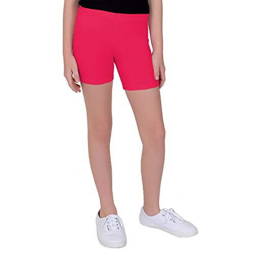 Stretch is Comfort Girl's Cotton Biker Shorts Hot Pink Large]()