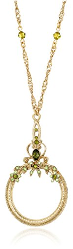 1928 Jewelry Ornate Olivine Brass-Tone Magnifying Glass N...