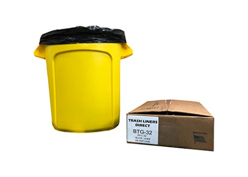 BTG-32 15 Gallon Super Strong, 24x32 Black, 250 Count,1 Mil True Gauge Trash Liner Bags, Made in USA ()