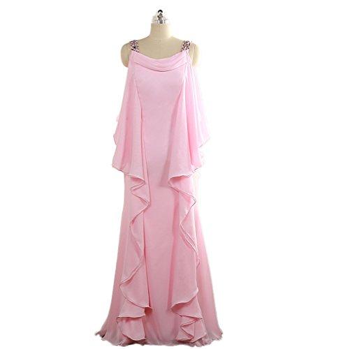 Brautmutterkleid Hochzeitskleid Beiläufig Braut Damen CoCogirls Mutterkleid Rosa Mutter Kleider Chiffon Ballkleid Lange Abendkleid EnPnBq8