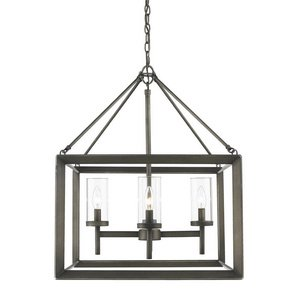Golden Lighting 2073-4 GMT Chandelier with Clear Glass Shades, Gunmetal Bronze Finish