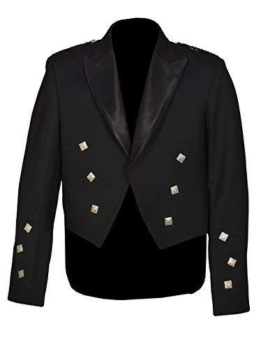 Men's Scottish Black Prince Charlie Kilt Jacket & Vest (Chest Size 44 Regular)