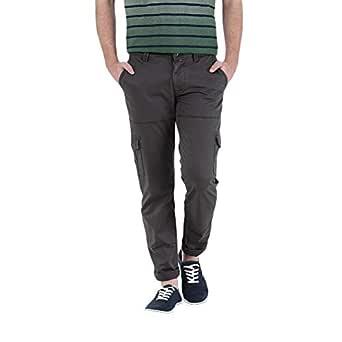 Basics B1240 Mid Low Rise Casual Cargo Pants for Men - 36 EU, Dark Gray