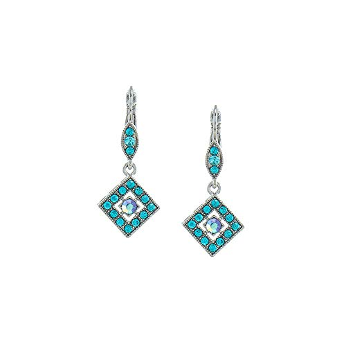 Silver and Aqua Blue Austrian Crystal Leverback Earrings