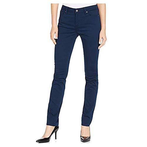 Calvin Klein Womens Power Stretch Straight Leg Slim Fit Corduroy Pants, Navy, 14 x 30 (Navy, 14 x 32)