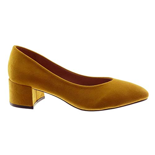 Haut Chaussure Decolleté Escarpin on 5 Angkorly Moutarde Slip Talon Femme CM Mode Bloc 4qx6n1w8
