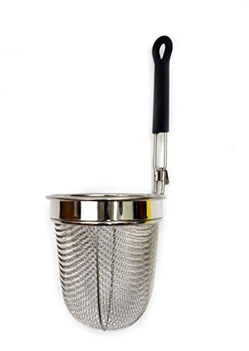 SAMMART Stainless Steel Mesh Noodle Strainer basket with Black Silicone Handle - Pasta Sieve Colander (Sheet Rim, M)