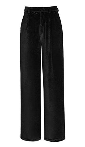 Urban CoCo Women's Vogue Velvet Palazzo Wide Leg Pants (XL, Black)