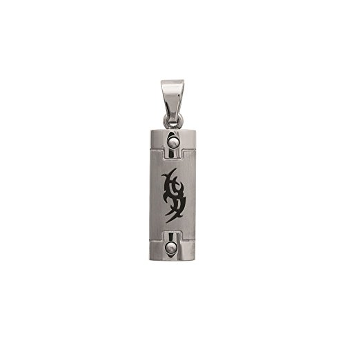 Pendentif Homme Acier Inoxydable Carbone Rectangle 27 x 10 mm Dessin Tribal