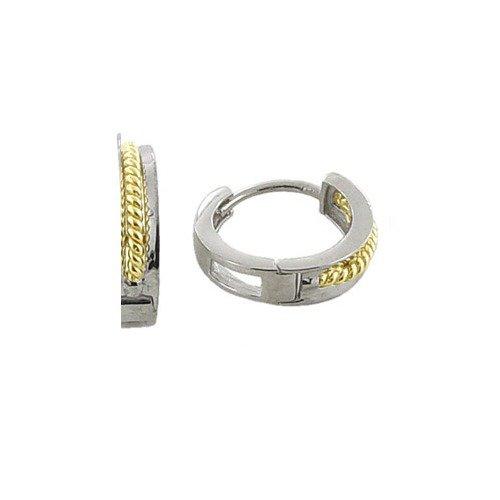 Framed Twist Thin Band Two-Tone 14K Yellow & White Gold Huggie Earrings
