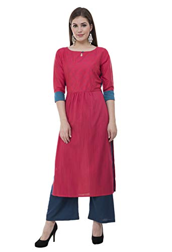 - Lagi Designer Women's Polly Silk Straight Kurta Indian Tunic Top Womens Printed Blouse India Clothing Large (Rust)