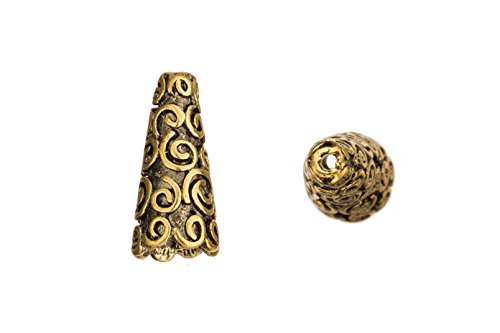 Swirls embossed antique copper-plated beads cone 8.7x8.5mm fits 8-11mm beads sold per 10pcs per pack