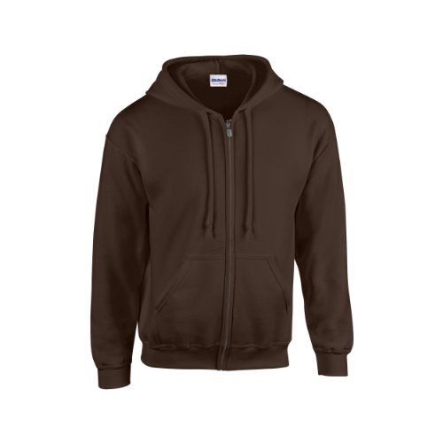 Gildan Heavy Blend Unisex Adult Full Zip Hooded Sweatshirt Top (L) (Dark Chocolate)