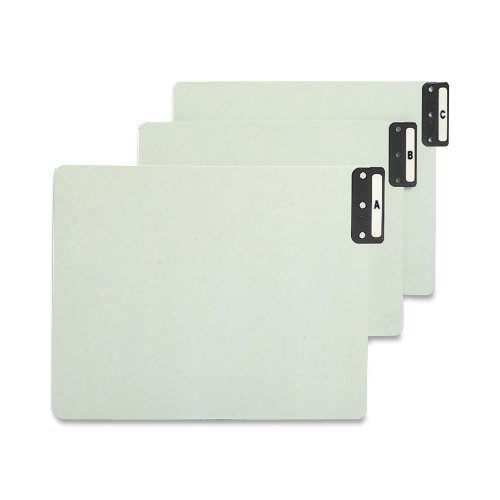 Smead 100% Recycled End Tab Pressboard File Guides, Vertical Metal Tab (A-Z), Extra Wide Letter Size, Gray/Green, Set of 25 (61676) (Tab End File)