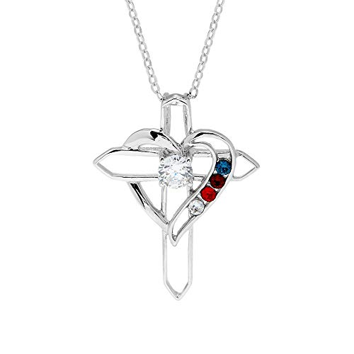 4 Simulated Stone Heart with Cross Sterling Silver Pendant