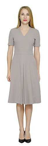 Marycrafts Womens Work Office Business Fit Flare Midi Dress