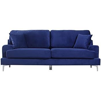 Ultra Modern Plush Velvet Living Room Sofa (Blue)