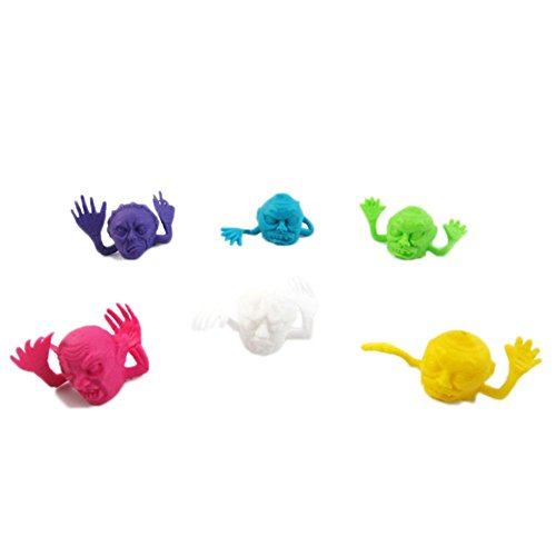 Chinatera 6Pcs Mini 6 Color Colorful Skull Halloween Theme Puppets Finger Toys Random Color (Halloween Theme For Preschoolers)