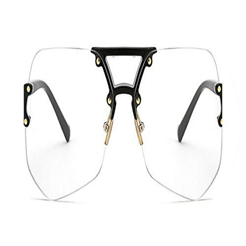Men Metal Glasses Women Vintage Retro Sunglasses UV400,C07 black clear