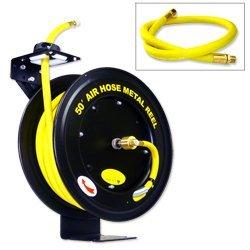 "Hiltex 40270 Retractable Metal Air Hose Reel | Auto Rewind | 1/2"" x 50'"